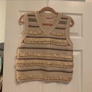 Tory Burch Striped Jacquard Sweater Vest Fringe M